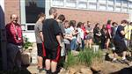 SCMS Students landscaping courtyard